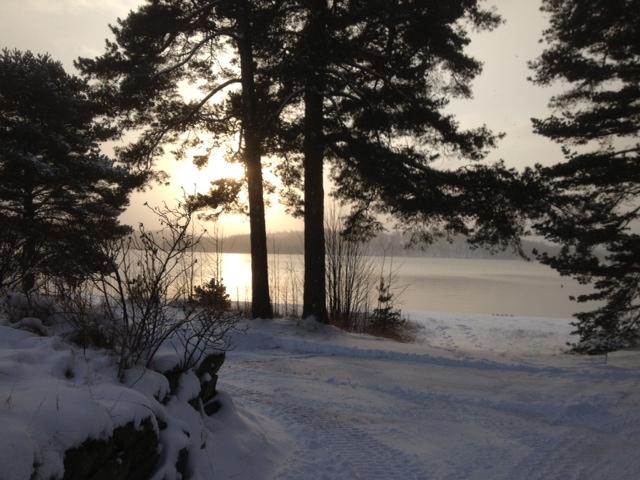 Snö vid Viaredsjön